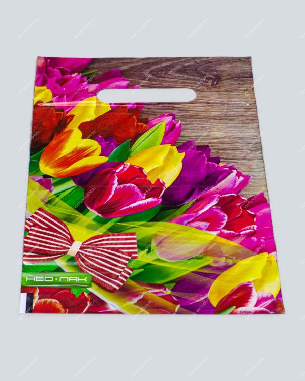 """Пакет """"Тюльпаны с бантом"""", полиэтиленовый с вырубной ручкой, 20х30 см"""