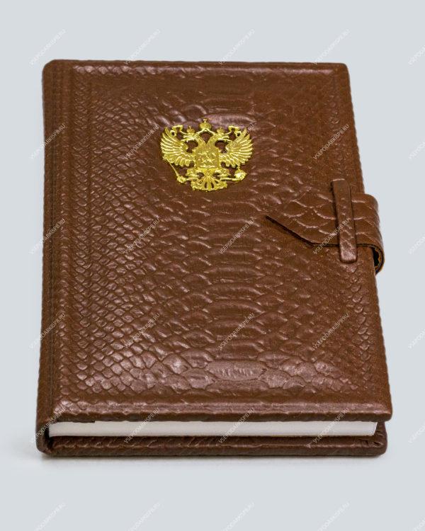 Ежедневник А5 «Классик» коричневый (с несъёмной обложкой) с бронзовым орлом