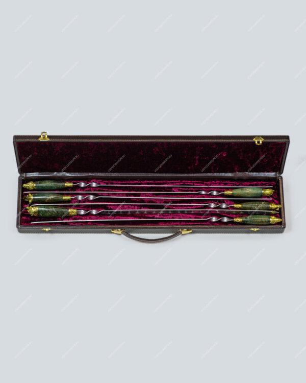 Набор шампуров из карельской березы в футляре «Презент - 4»