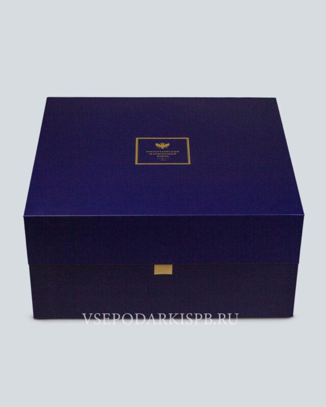 Подарочная упаковка сервизная средняя синяя | Коробка под сервиз Купить подарки в СПБ