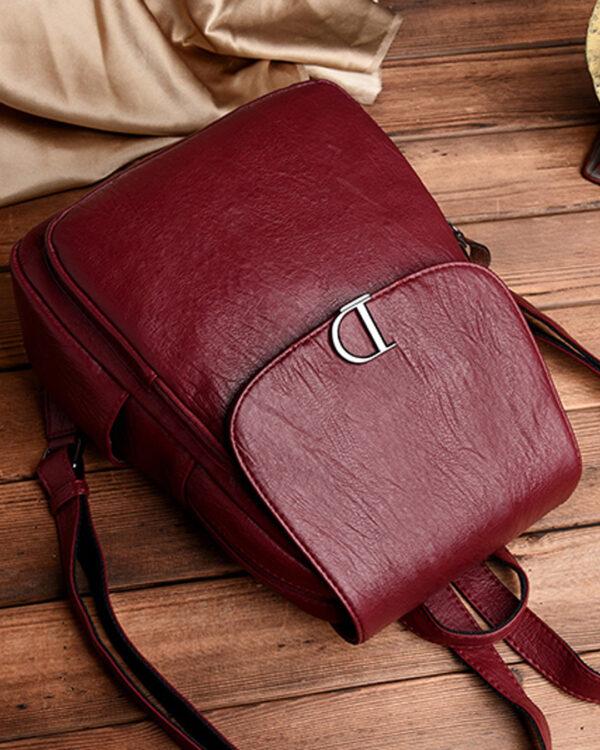 Бордовый женский рюкзак (экокожа)