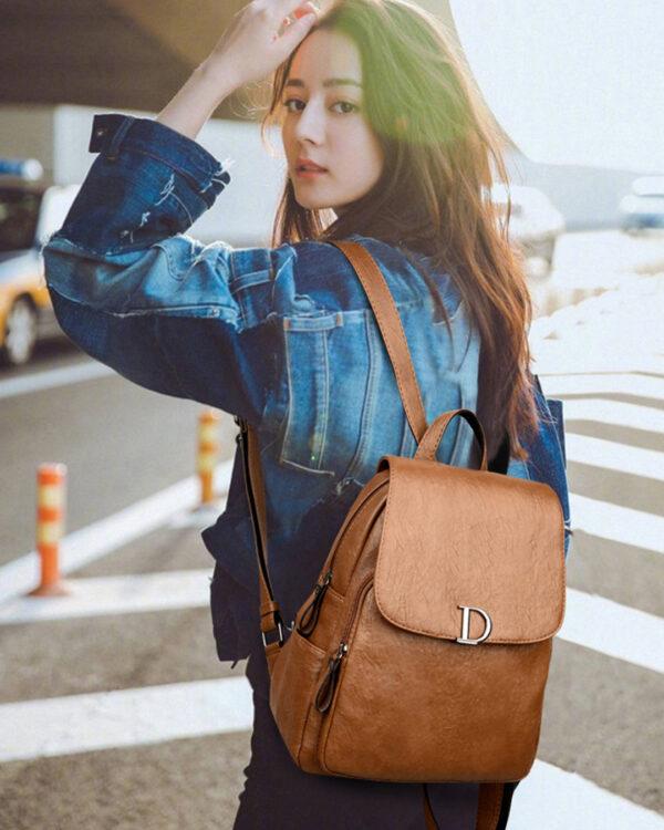 Коричневый женский рюкзак (экокожа)