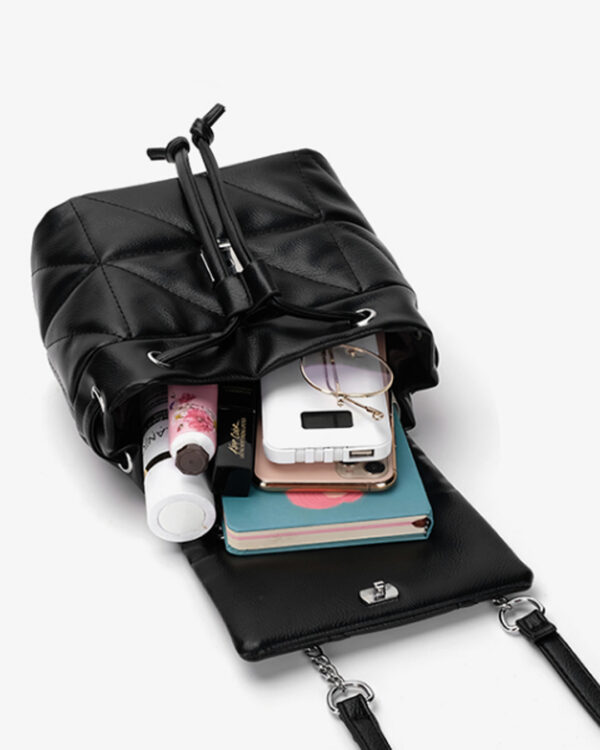 Мини-сумка-рюкзак женская черная CEEKAY (экокожа)