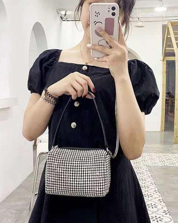 Женская сумка с кристаллами «Аw king rhinestone» (экокожа)